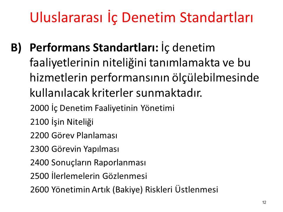 Uluslararası İç Denetim Standartları B) Performans Standartları: İç denetim faaliyetlerinin niteliğini tanımlamakta ve bu hizmetlerin performansının ölçülebilmesinde kullanılacak kriterler sunmaktadır.