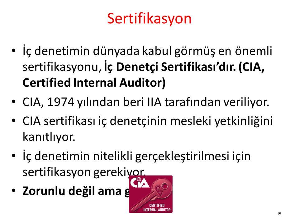 Sertifikasyon İç denetimin dünyada kabul görmüş en önemli sertifikasyonu, İç Denetçi Sertifikası'dır.