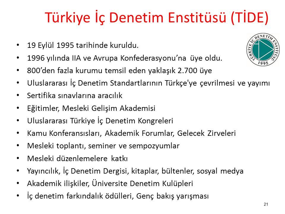 21 Türkiye İç Denetim Enstitüsü (TİDE) 19 Eylül 1995 tarihinde kuruldu.