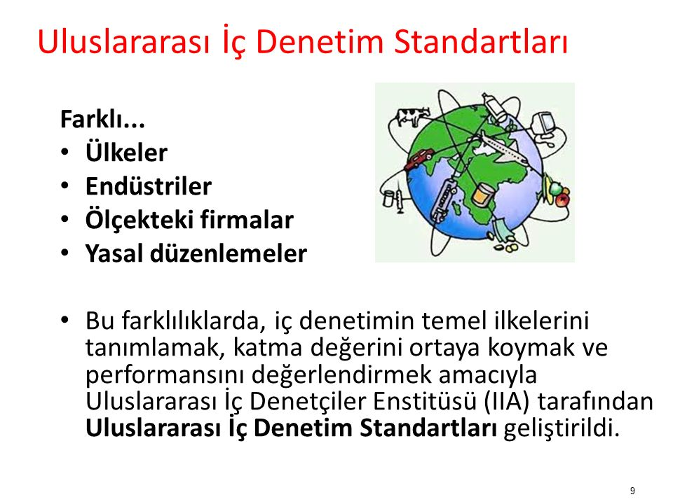Uluslararası İç Denetim Standartları 1947, İç Denetimin Sorumlulukları Bildirgesi1978, Genel Kabul Görmüş İç Denetim Standartları1999, Mesleki Uygulama Çerçevesi 10 Mesleki Uygulama Çerçevesi ve Standartlar zaman içinde değiştirilmekte ve geliştirilmektedir.