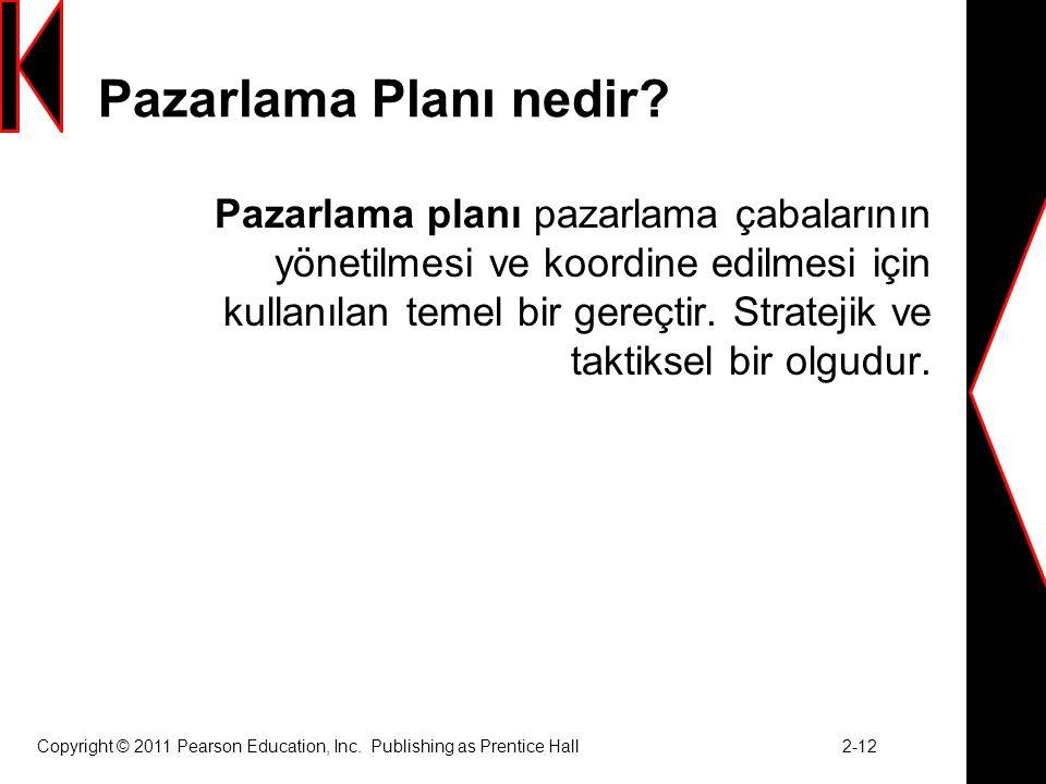 Copyright © 2011 Pearson Education, Inc.Publishing as Prentice Hall 2-12 Pazarlama Planı nedir.
