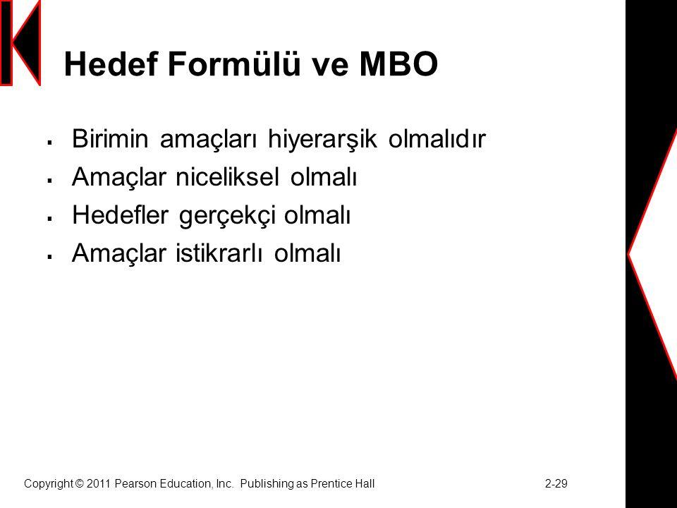 Hedef Formülü ve MBO  Birimin amaçları hiyerarşik olmalıdır  Amaçlar niceliksel olmalı  Hedefler gerçekçi olmalı  Amaçlar istikrarlı olmalı Copyright © 2011 Pearson Education, Inc.