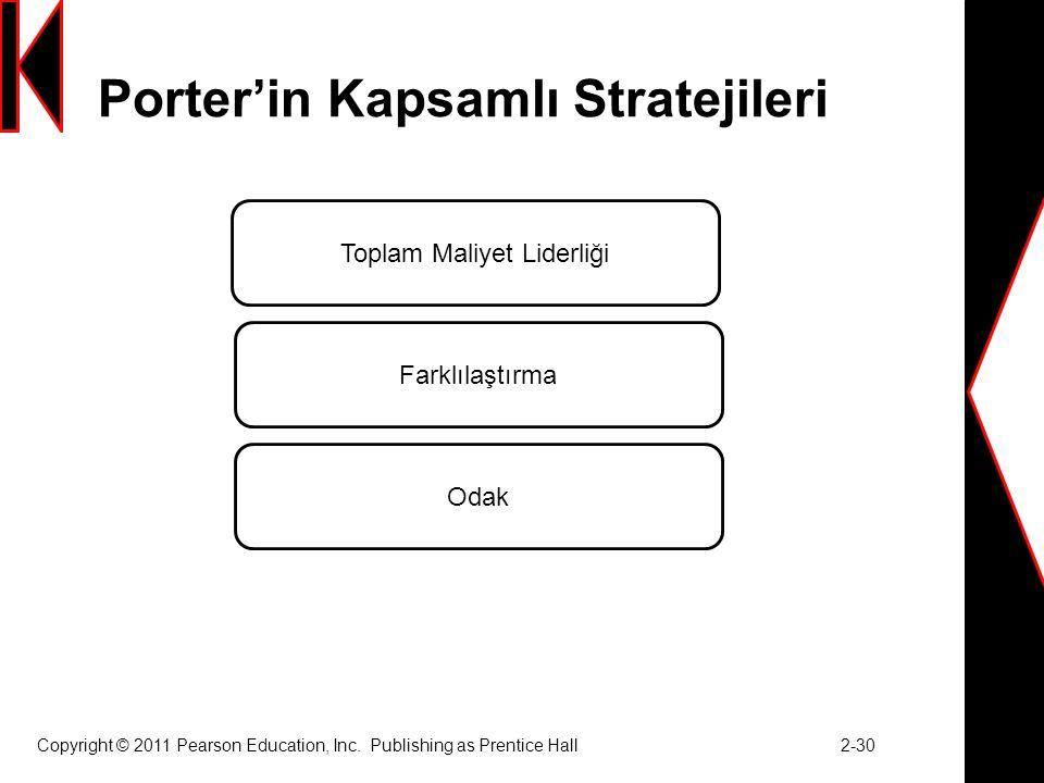 Porter'in Kapsamlı Stratejileri Copyright © 2011 Pearson Education, Inc.