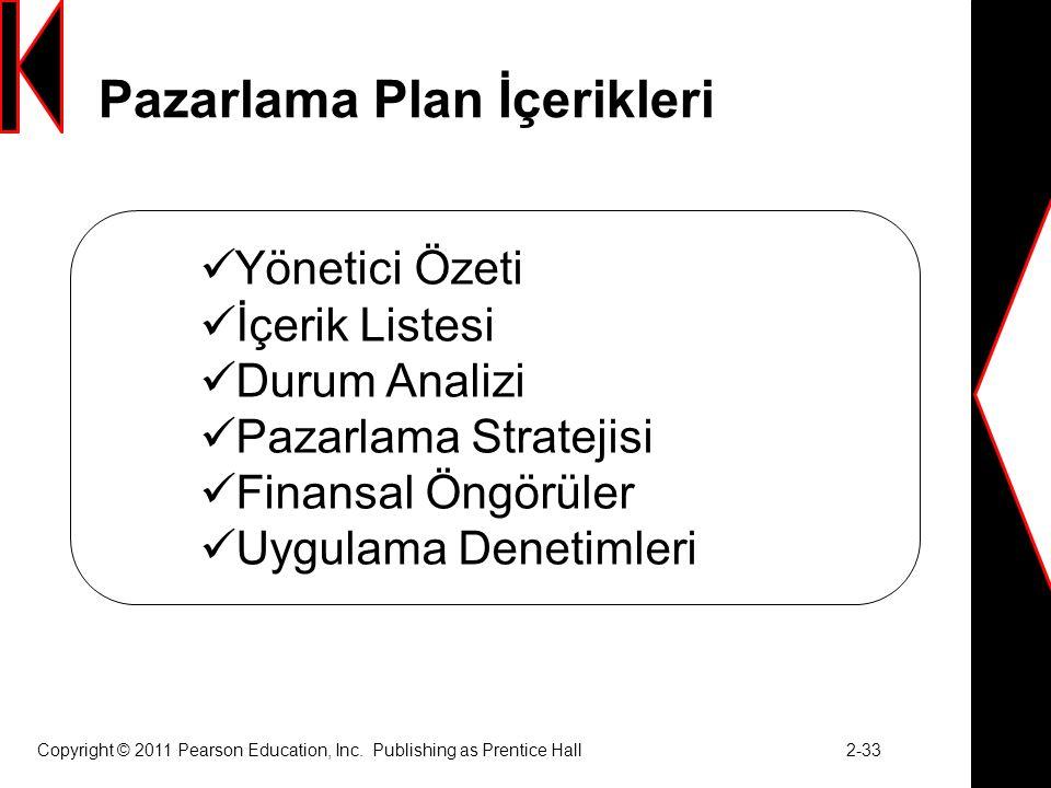 Pazarlama Plan İçerikleri Copyright © 2011 Pearson Education, Inc.