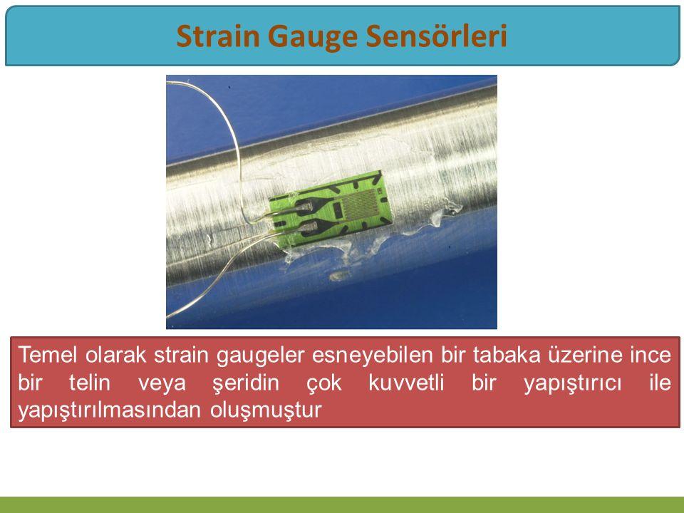 Strain Gauge Sensörleri Temel olarak strain gaugeler esneyebilen bir tabaka üzerine ince bir telin veya şeridin çok kuvvetli bir yapıştırıcı ile yapıştırılmasından oluşmuştur