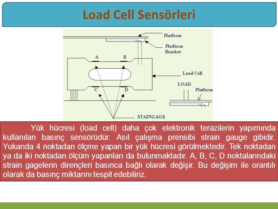 Yük hücresi (load cell) daha çok elektronik terazilerin yapımında kullanılan basınç sensörüdür.