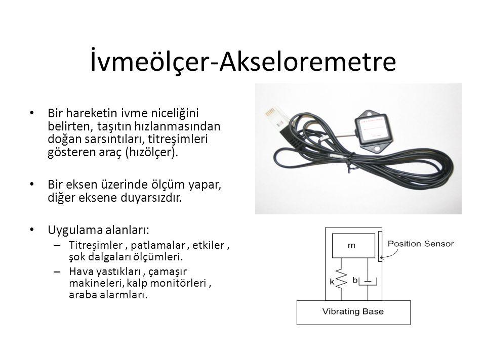 İvmeölçer-Akseloremetre Bir hareketin ivme niceliğini belirten, taşıtın hızlanmasından doğan sarsıntıları, titreşimleri gösteren araç (hızölçer).
