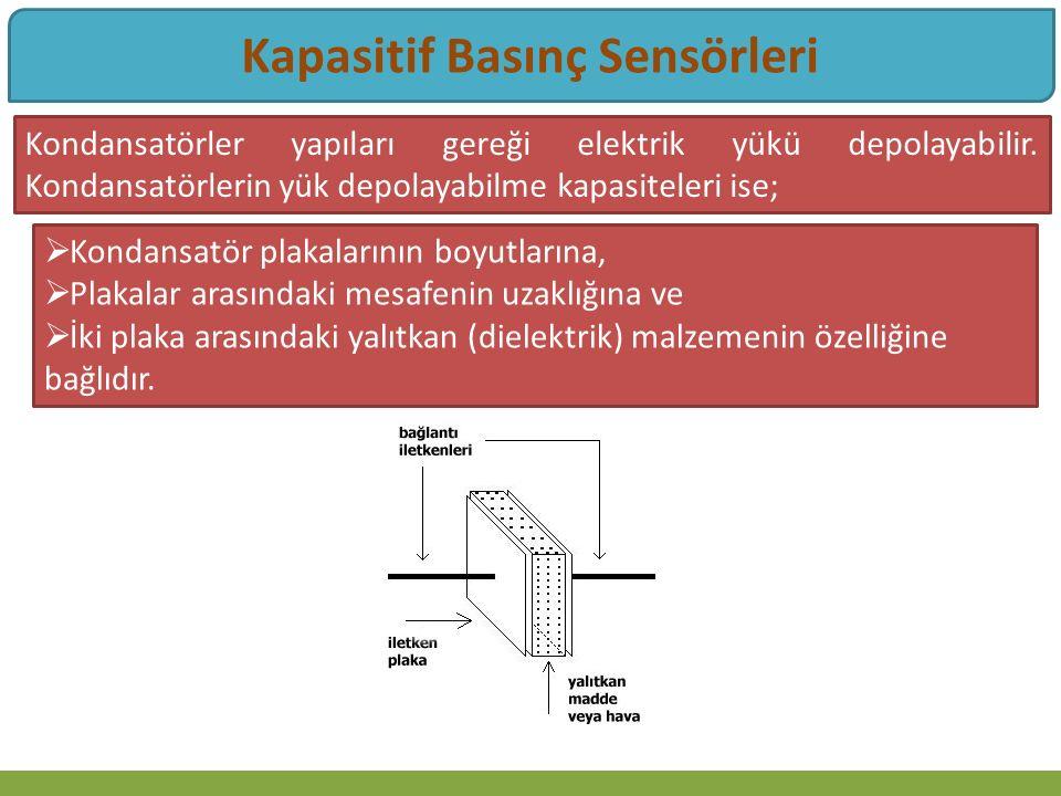 Kapasitif Basınç Sensörleri Kondansatörler yapıları gereği elektrik yükü depolayabilir.
