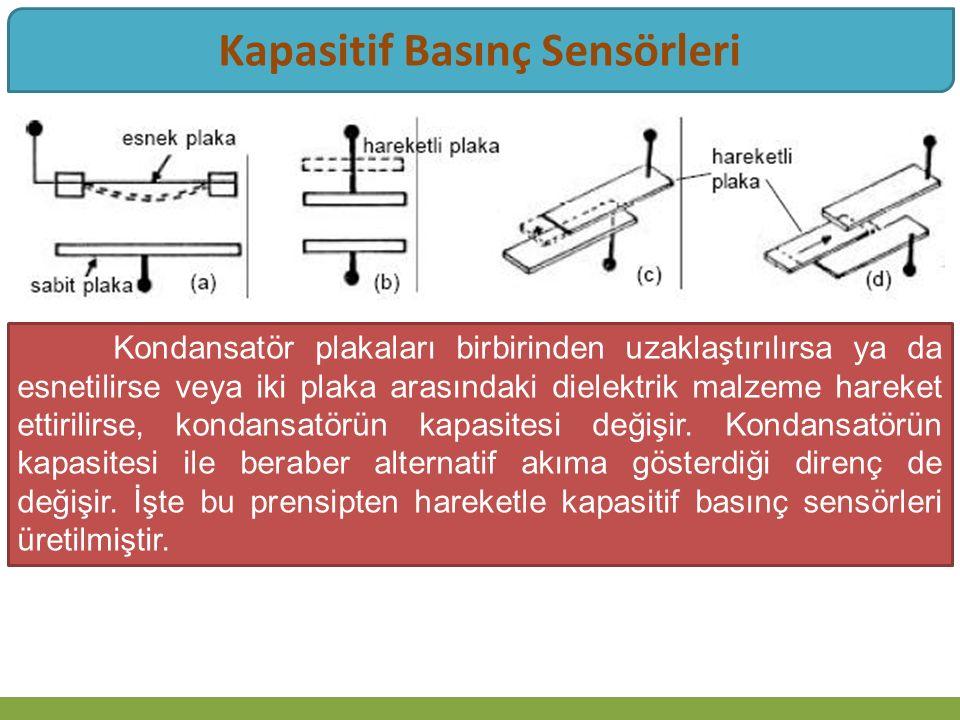 Kapasitif Basınç Sensörleri Kondansatör plakaları birbirinden uzaklaştırılırsa ya da esnetilirse veya iki plaka arasındaki dielektrik malzeme hareket ettirilirse, kondansatörün kapasitesi değişir.