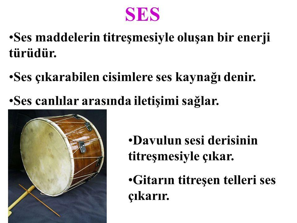 SES Ses maddelerin titreşmesiyle oluşan bir enerji türüdür.
