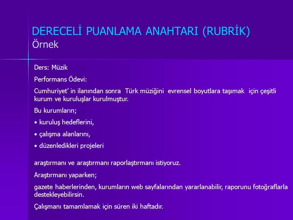 DERECELİ PUANLAMA ANAHTARI (RUBRİK) Örnek Ders: Müzik Performans Ödevi: Cumhuriyet' in ilanından sonra Türk müziğini evrensel boyutlara taşımak için ç