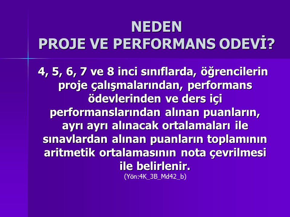 4, 5, 6, 7 ve 8 inci sınıflarda, öğrencilerin proje çalışmalarından, performans ödevlerinden ve ders içi performanslarından alınan puanların, ayrı ayr