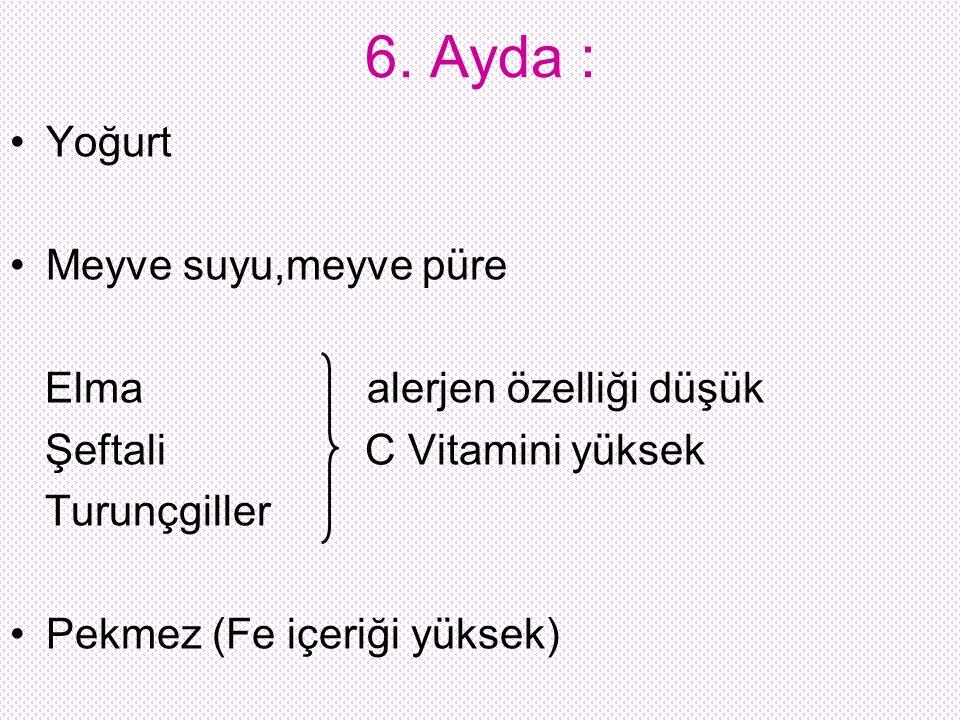 6. Ayda : Yoğurt Meyve suyu,meyve püre Elma alerjen özelliği düşük Şeftali C Vitamini yüksek Turunçgiller Pekmez (Fe içeriği yüksek)