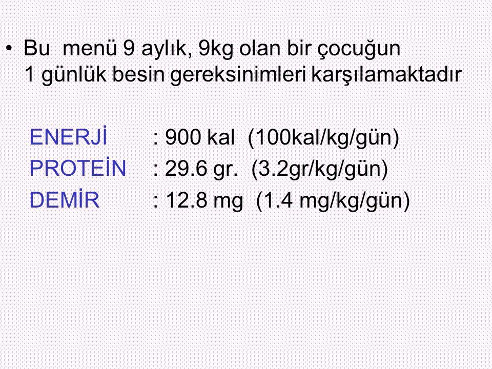 Bu menü 9 aylık, 9kg olan bir çocuğun 1 günlük besin gereksinimleri karşılamaktadır ENERJİ: 900 kal (100kal/kg/gün) PROTEİN: 29.6 gr. (3.2gr/kg/gün) D