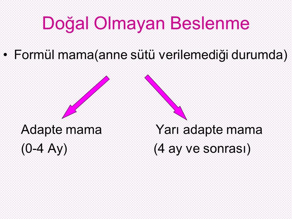 Doğal Olmayan Beslenme Formül mama(anne sütü verilemediği durumda) Adapte mama Yarı adapte mama (0-4 Ay) (4 ay ve sonrası)