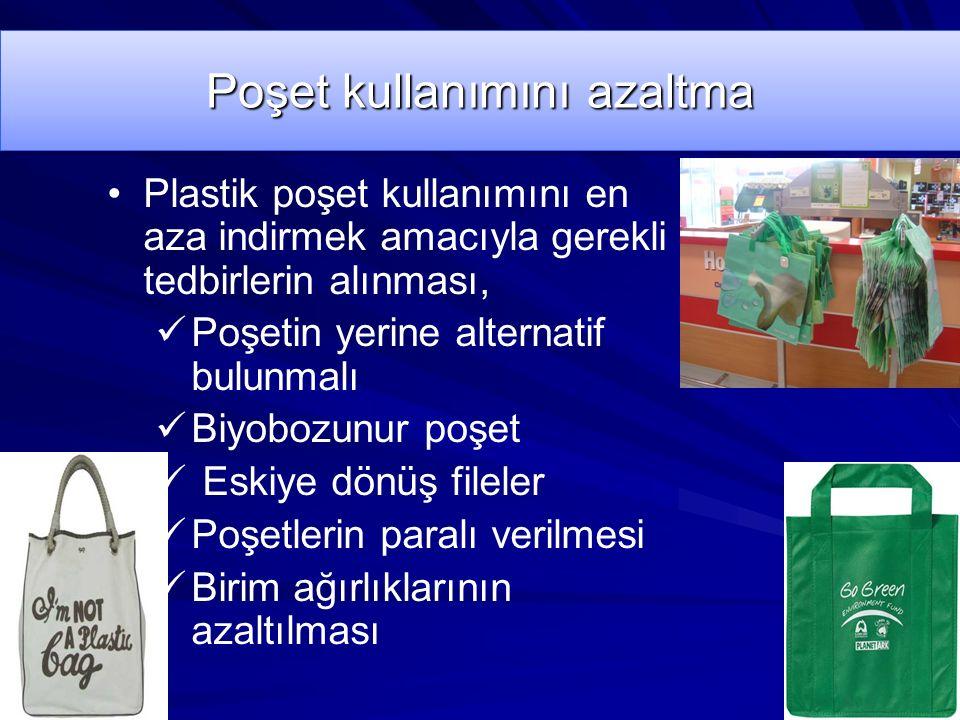 Poşet kullanımını azaltma Plastik poşet kullanımını en aza indirmek amacıyla gerekli tedbirlerin alınması, Poşetin yerine alternatif bulunmalı Biyobozunur poşet Eskiye dönüş fileler Poşetlerin paralı verilmesi Birim ağırlıklarının azaltılması