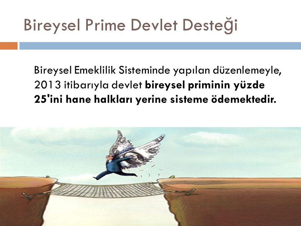 Bireysel Prime Devlet Deste ğ i Bireysel Emeklilik Sisteminde yapılan düzenlemeyle, 2013 itibarıyla devlet bireysel priminin yüzde 25 ini hane halkları yerine sisteme ödemektedir.