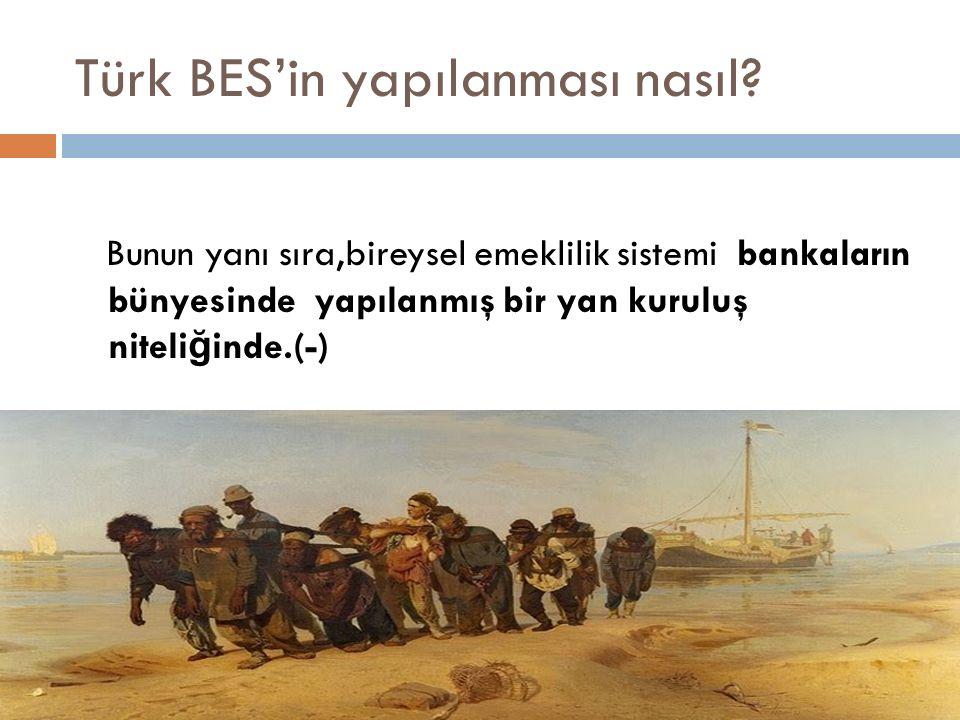 Türk BES'in yapılanması nasıl? Bunun yanı sıra,bireysel emeklilik sistemi bankaların bünyesinde yapılanmış bir yan kuruluş niteli ğ inde.(-)