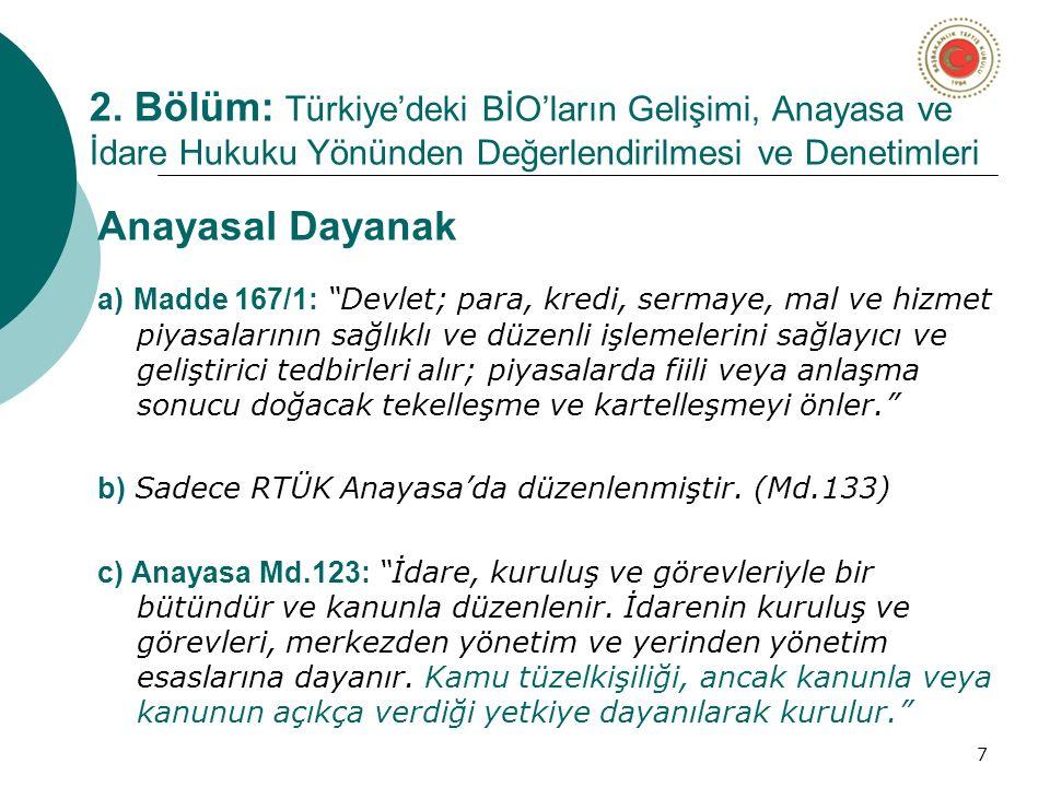 """7 2. Bölüm: Türkiye'deki BİO'ların Gelişimi, Anayasa ve İdare Hukuku Yönünden Değerlendirilmesi ve Denetimleri Anayasal Dayanak a) Madde 167/1: """"Devle"""