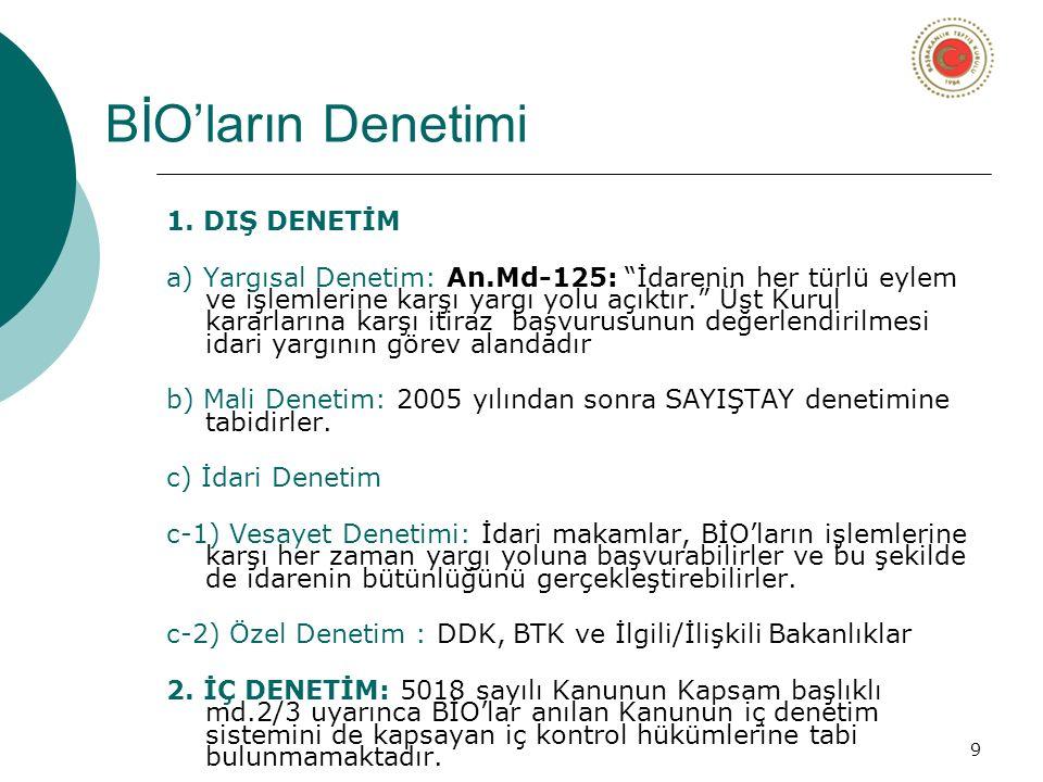 10 Türk İdare Yapısı İçindeki BİO'lar (5018 Ek:3 Sayılı Liste)  Sermaye Piyasası Kurulu (1981)  Radyo ve Televizyon Üst Kurulu (1994)  Rekabet Kurumu (1994'te kurulmuş, 1997'de faaliyete geçmiş)  Bankacılık Düzenleme ve Denetleme Kurumu (1999)  Tasarruf Mevduatı Sigorta Fonu Kurulu  Bilgi Teknolojileri ve İletişim Kurumu (2000'de kurulmuş, 2008'de isim değişikliği olmuş)  Enerji Piyasası Düzenleme Kurumu (2001)  Tütün ve Alkol Piyasası Düzenleme Kurumu (2002)  Kamu İhale Kurumu (2002)  Şeker Kurulu (22.12.2005 tarih ve 5436 Sayılı Kanunla listeden çıkarılmıştır)