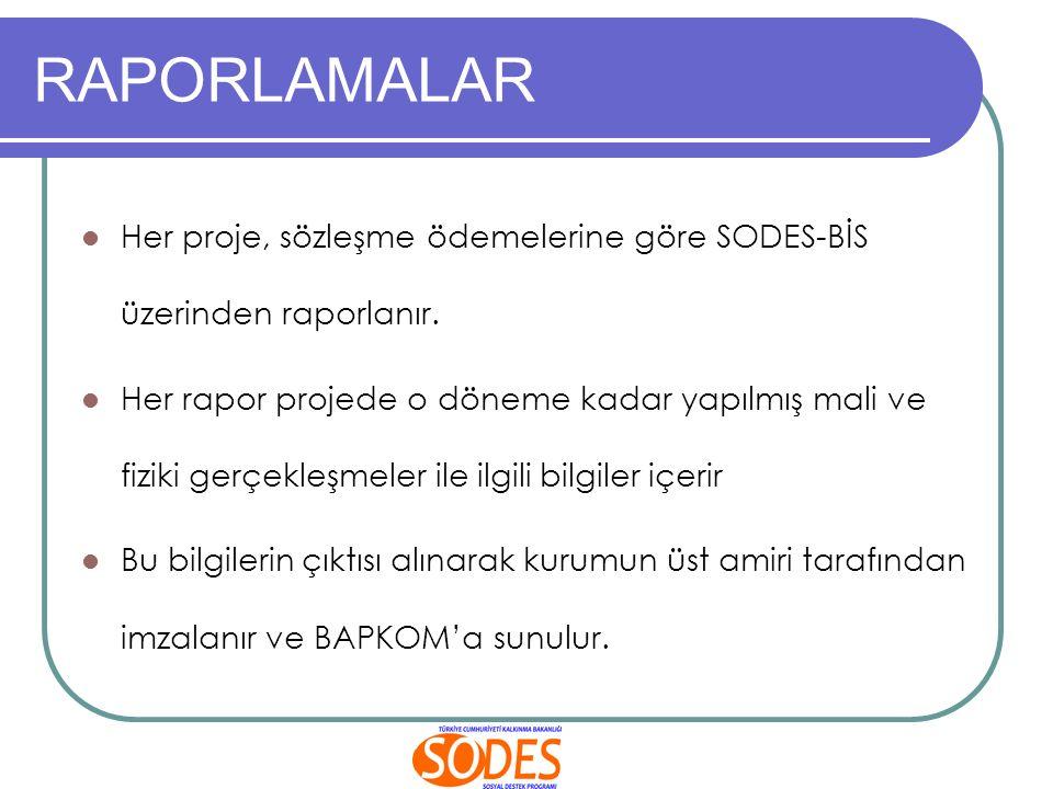 RAPORLAMALAR Her proje, sözleşme ödemelerine göre SODES-BİS üzerinden raporlanır.