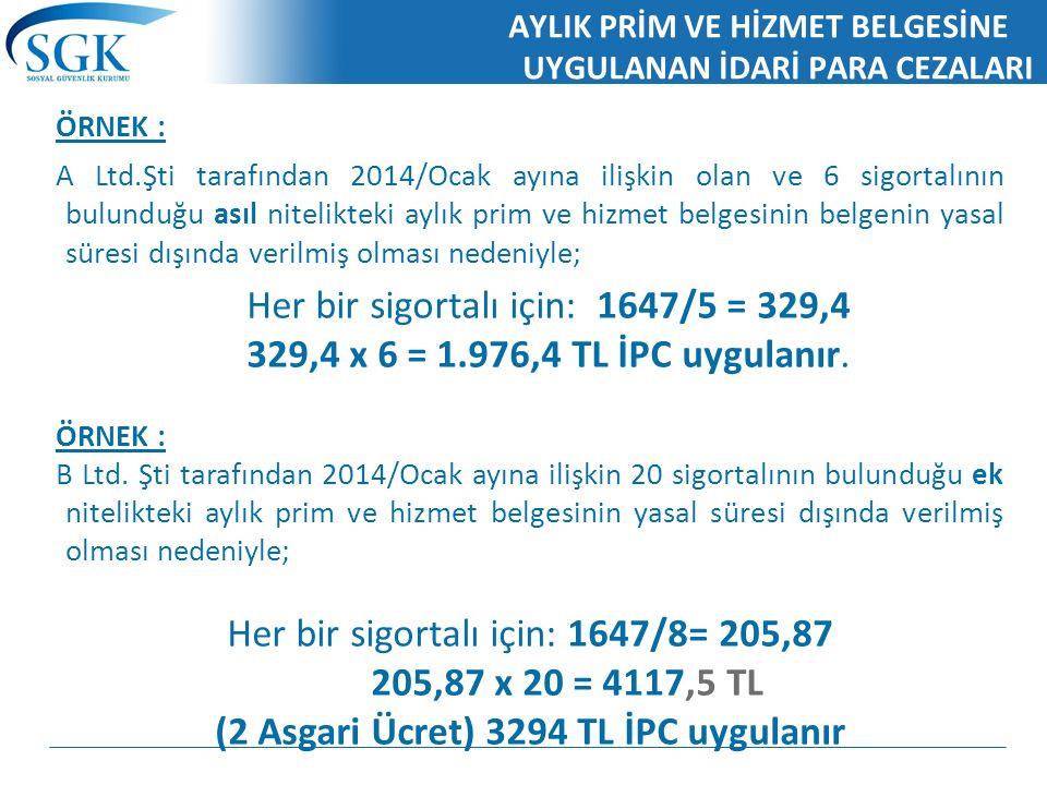 AYLIK PRİM VE HİZMET BELGESİNE UYGULANAN İDARİ PARA CEZALARI ÖRNEK : A Ltd.Şti tarafından 2014/Ocak ayına ilişkin olan ve 6 sigortalının bulunduğu asıl nitelikteki aylık prim ve hizmet belgesinin belgenin yasal süresi dışında verilmiş olması nedeniyle; Her bir sigortalı için: 1647/5 = 329,4 329,4 x 6 = 1.976,4 TL İPC uygulanır.