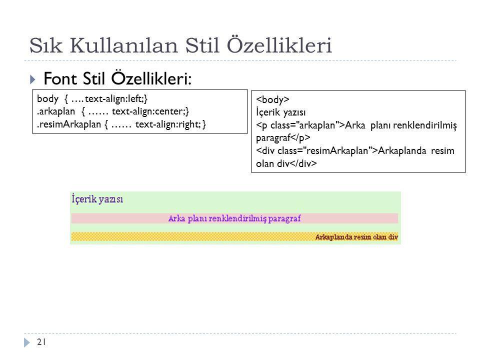 Sık Kullanılan Stil Özellikleri  Font Stil Özellikleri: 21 body { ….text-align:left;}.arkaplan { …… text-align:center;}.resimArkaplan { …… text-align:right; } İ çerik yazısı Arka planı renklendirilmiş paragraf Arkaplanda resim olan div