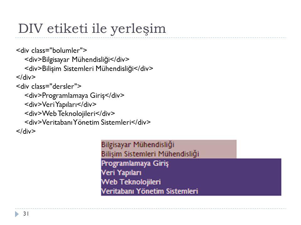 DIV etiketi ile yerleşim 31 Bilgisayar Mühendisli ğ i Bilişim Sistemleri Mühendisli ğ i Programlamaya Giriş Veri Yapıları Web Teknolojileri Veritabanı Yönetim Sistemleri