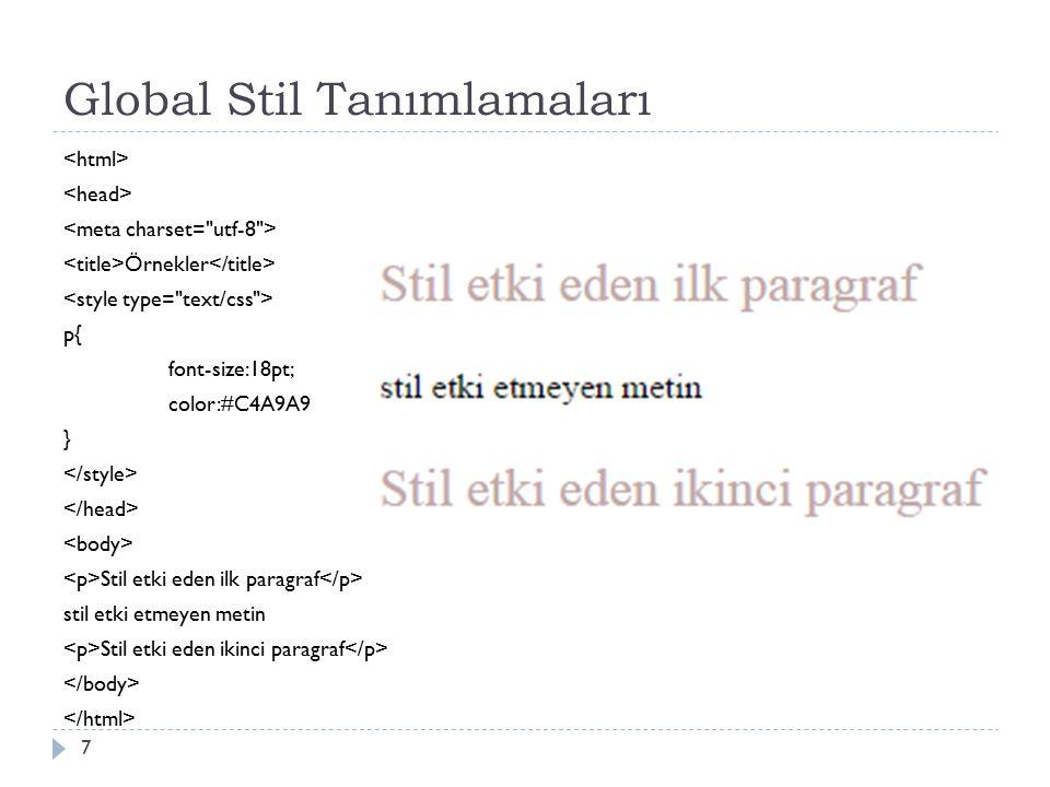 Sık Kullanılan Stil Özellikleri  Font Stil Özellikleri: Sayfada yer alacak olan yazıların font ayarlanı gerçekleştirmek amacıyla kullanılan stil özellikleridir.