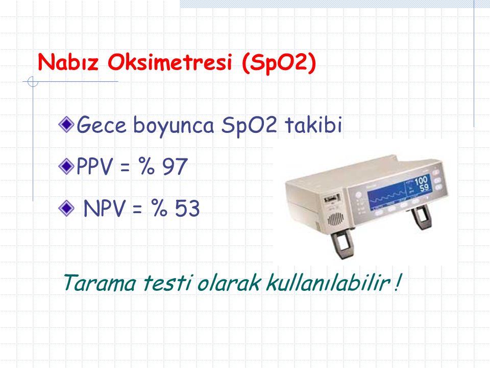 Nabız Oksimetresi (SpO2) Gece boyunca SpO2 takibi PPV = % 97 NPV = % 53 Tarama testi olarak kullanılabilir !
