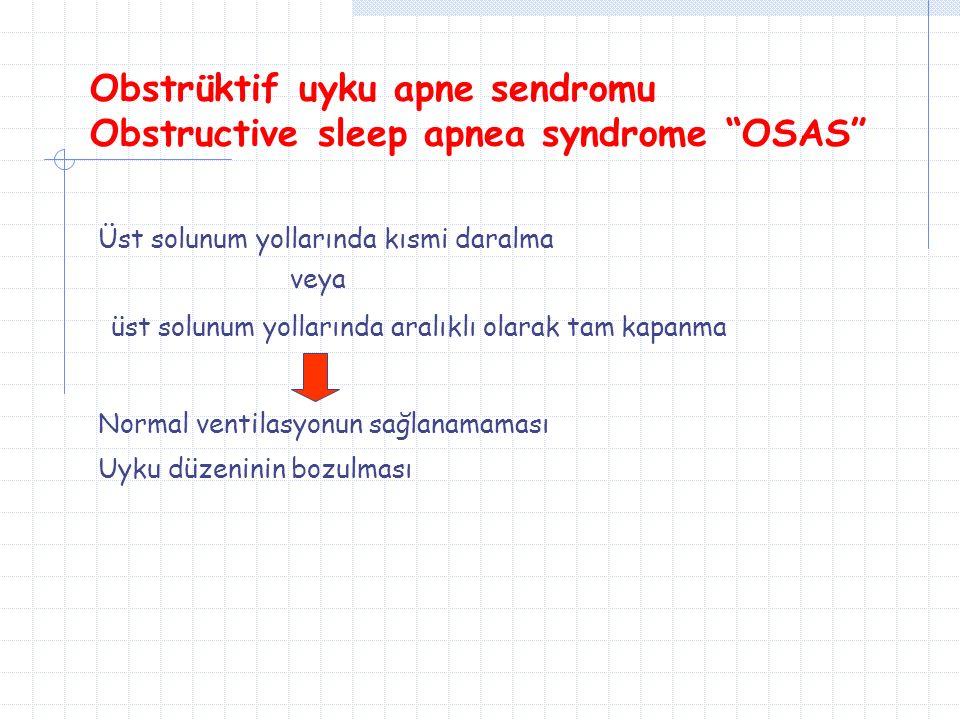 Obstrüktif uyku apne sendromu Obstructive sleep apnea syndrome OSAS Üst solunum yollarında kısmi daralma veya üst solunum yollarında aralıklı olarak tam kapanma Normal ventilasyonun sağlanamaması Uyku düzeninin bozulması