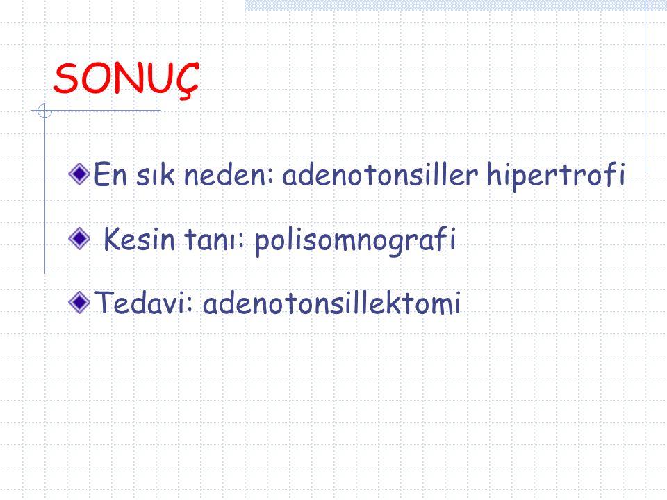 SONUÇ En sık neden: adenotonsiller hipertrofi Kesin tanı: polisomnografi Tedavi: adenotonsillektomi