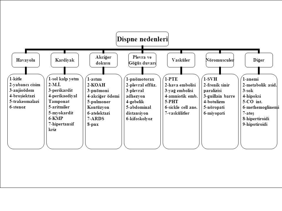 Dispne nedenleri Havayolu 1-kitle 2-yabancı cisim 3-anjioödem 4-broşiektazi 5-trakeomalazi 6-stenoz Kardiyak 1-sol kalp yetm 2-M.İ. 3-perikardit 4-per