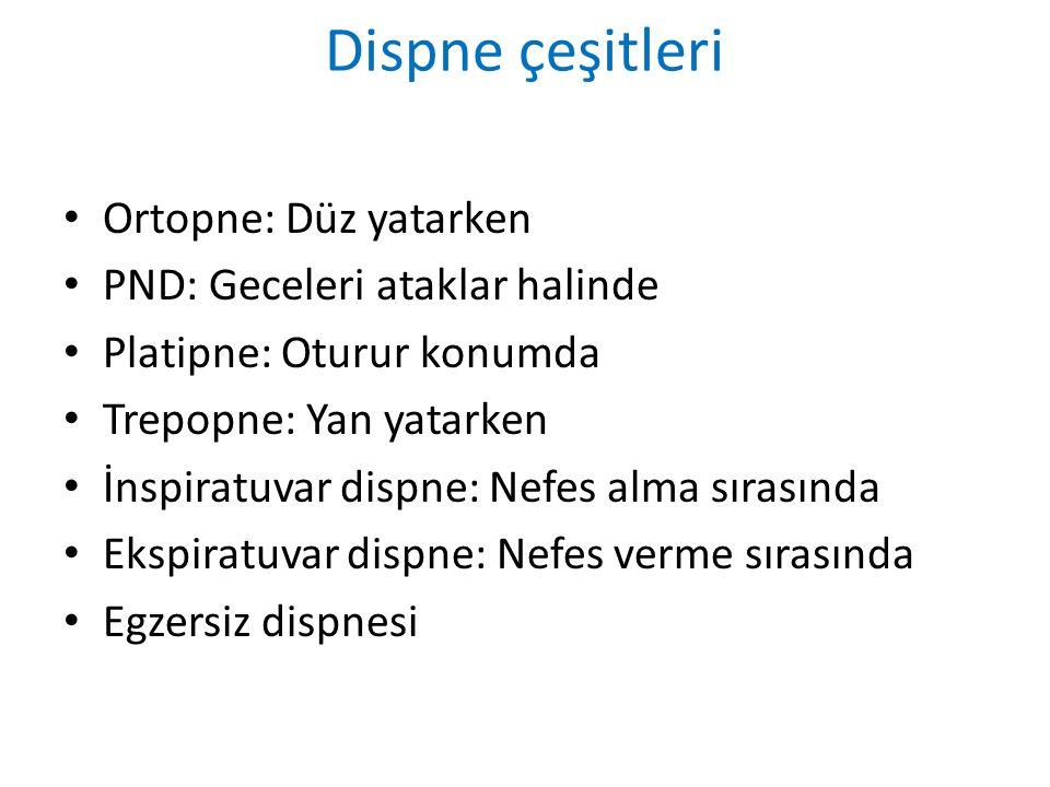 Dispne çeşitleri Ortopne: Düz yatarken PND: Geceleri ataklar halinde Platipne: Oturur konumda Trepopne: Yan yatarken İnspiratuvar dispne: Nefes alma s