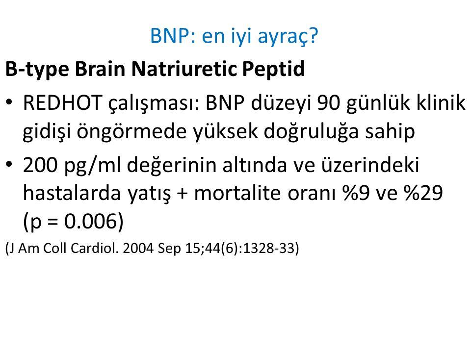 BNP: en iyi ayraç? B-type Brain Natriuretic Peptid REDHOT çalışması: BNP düzeyi 90 günlük klinik gidişi öngörmede yüksek doğruluğa sahip 200 pg/ml değ
