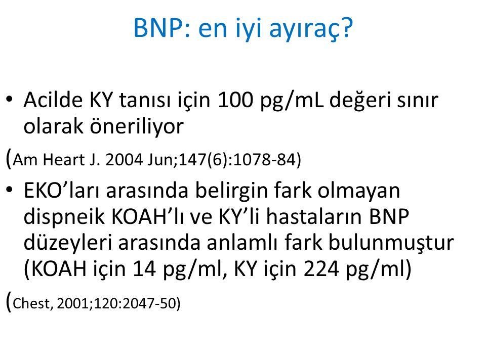 BNP: en iyi ayıraç? Acilde KY tanısı için 100 pg/mL değeri sınır olarak öneriliyor ( Am Heart J. 2004 Jun;147(6):1078-84) EKO'ları arasında belirgin f