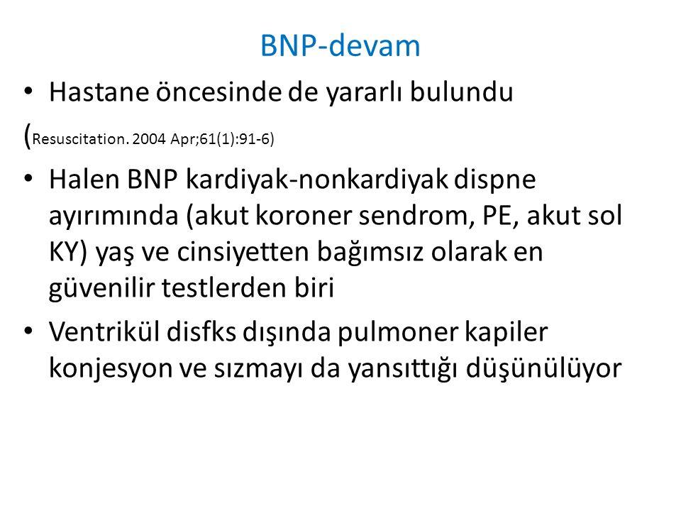 BNP-devam Hastane öncesinde de yararlı bulundu ( Resuscitation. 2004 Apr;61(1):91-6) Halen BNP kardiyak-nonkardiyak dispne ayırımında (akut koroner se