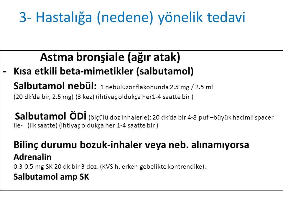 Astma bronşiale (ağır atak) -Kısa etkili beta-mimetikler (salbutamol) Salbutamol nebül: 1 nebülüzör flakonunda 2.5 mg / 2.5 ml (20 dk'da bir, 2.5 mg)