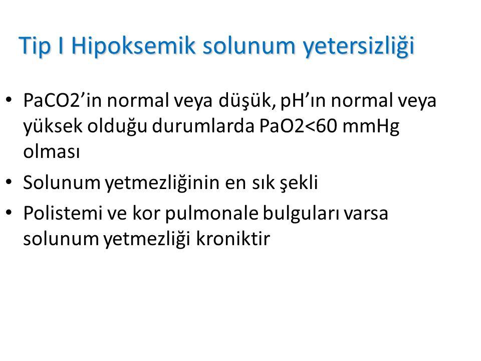 Tip I Hipoksemik solunum yetersizliği PaCO2'in normal veya düşük, pH'ın normal veya yüksek olduğu durumlarda PaO2<60 mmHg olması Solunum yetmezliğinin