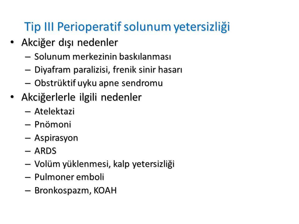 Tip III Perioperatif solunum yetersizliği Akciğer dışı nedenler Akciğer dışı nedenler – Solunum merkezinin baskılanması – Diyafram paralizisi, frenik