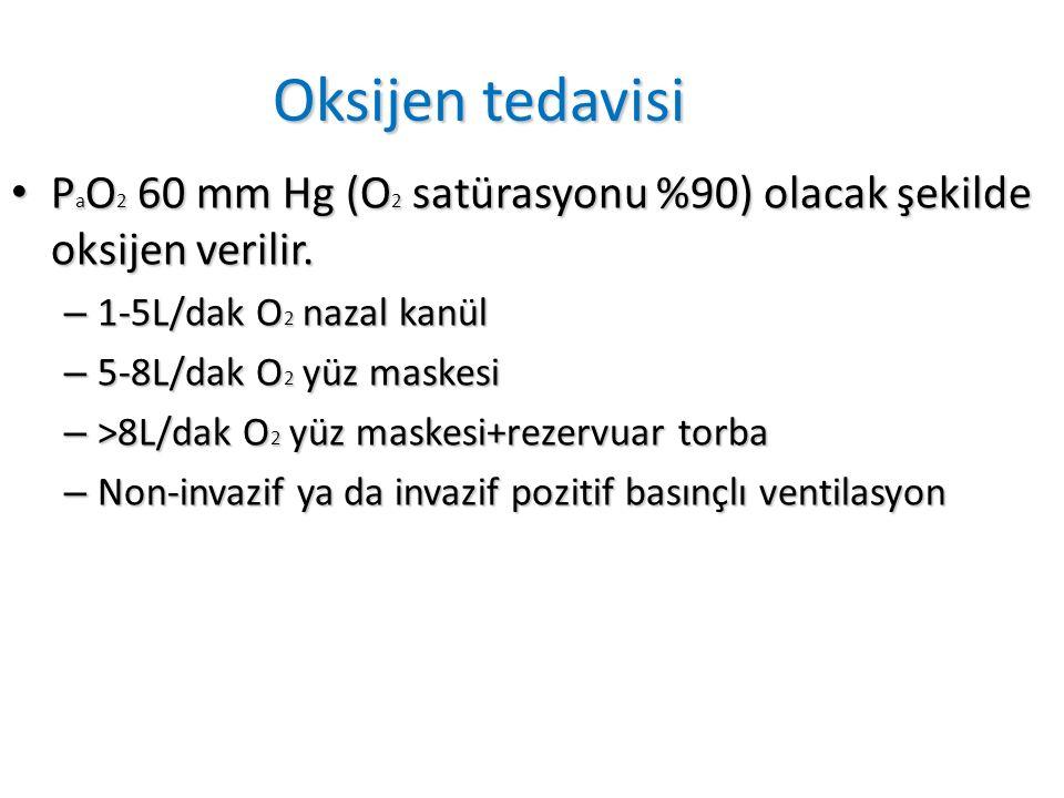 Oksijen tedavisi P a O 2 60 mm Hg (O 2 satürasyonu %90) olacak şekilde oksijen verilir.