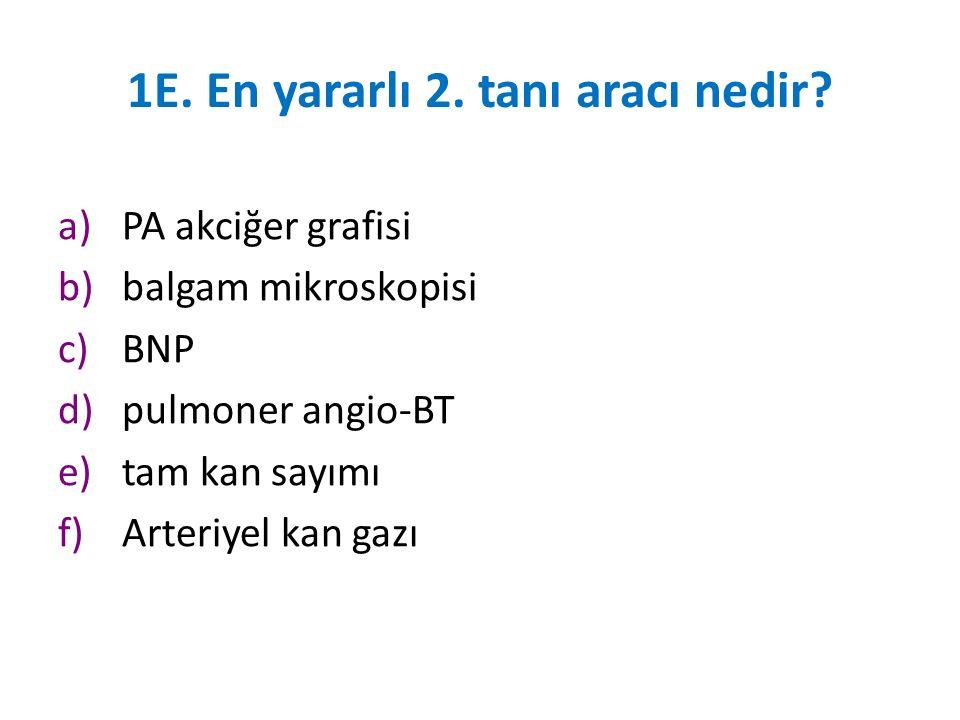 1E. En yararlı 2. tanı aracı nedir? a)PA akciğer grafisi b)balgam mikroskopisi c)BNP d)pulmoner angio-BT e)tam kan sayımı f)Arteriyel kan gazı