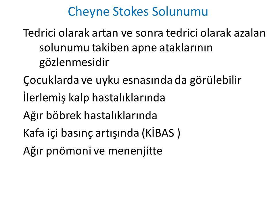 Cheyne Stokes Solunumu Tedrici olarak artan ve sonra tedrici olarak azalan solunumu takiben apne ataklarının gözlenmesidir Çocuklarda ve uyku esnasınd