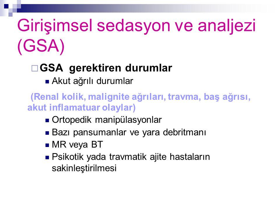 Girişimsel sedasyon ve analjezi (GSA)  GSA gerektiren durumlar Akut ağrılı durumlar (Renal kolik, malignite ağrıları, travma, baş ağrısı, akut inflam