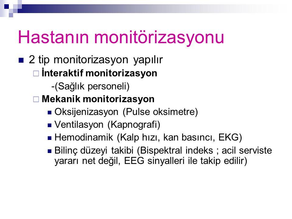Hastanın monitörizasyonu 2 tip monitorizasyon yapılır  İnteraktif monitorizasyon -(Sağlık personeli)  Mekanik monitorizasyon Oksijenizasyon (Pulse o