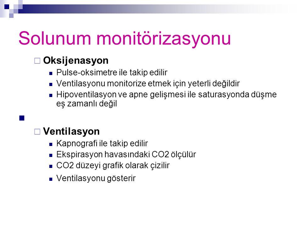 Solunum monitörizasyonu  Oksijenasyon Pulse-oksimetre ile takip edilir Ventilasyonu monitorize etmek için yeterli değildir Hipoventilasyon ve apne ge
