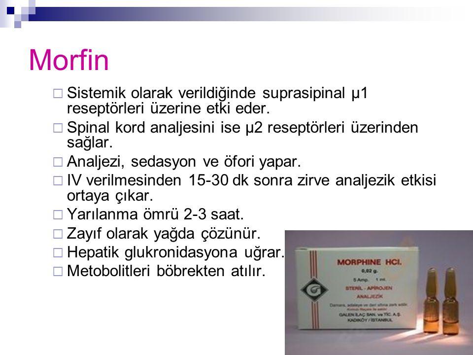 Morfin  Sistemik olarak verildiğinde suprasipinal μ1 reseptörleri üzerine etki eder.  Spinal kord analjesini ise μ2 reseptörleri üzerinden sağlar. 