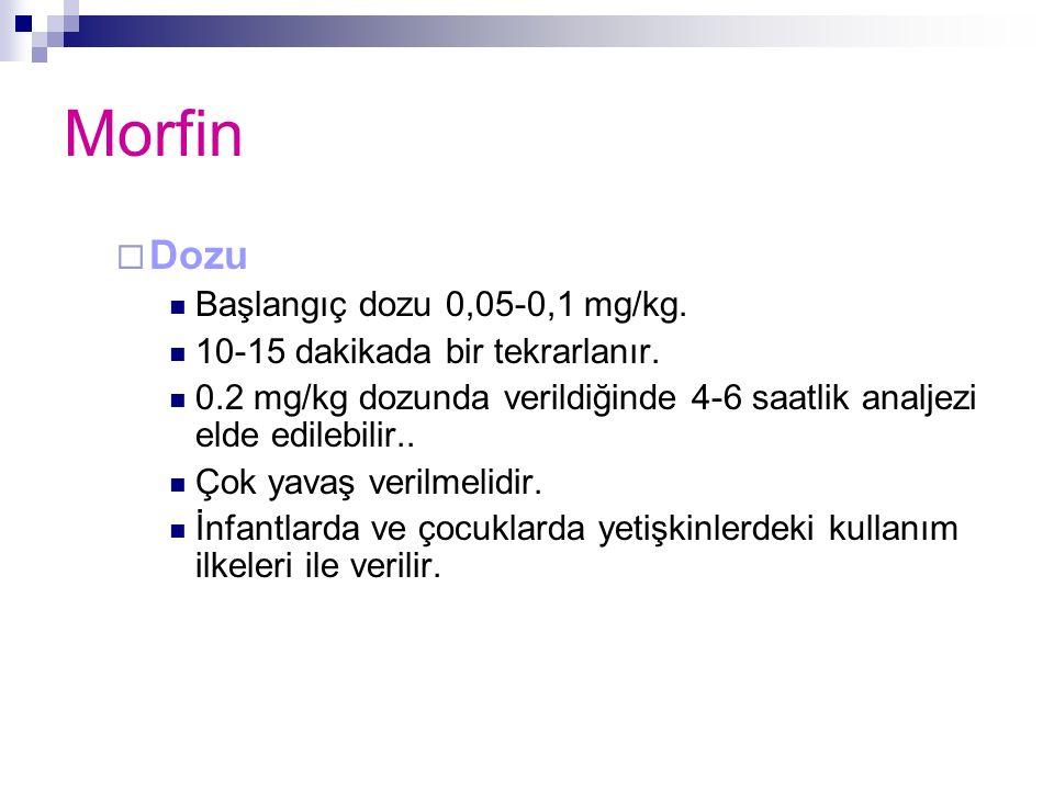 Morfin  Dozu Başlangıç dozu 0,05-0,1 mg/kg. 10-15 dakikada bir tekrarlanır. 0.2 mg/kg dozunda verildiğinde 4-6 saatlik analjezi elde edilebilir.. Çok