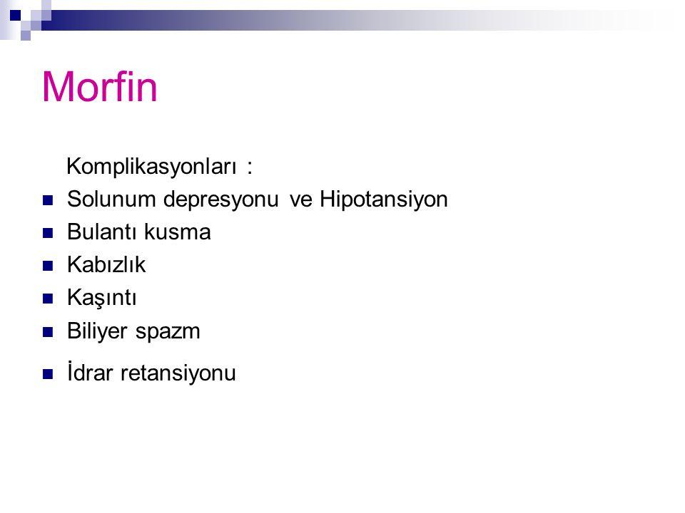Morfin Komplikasyonları : Solunum depresyonu ve Hipotansiyon Bulantı kusma Kabızlık Kaşıntı Biliyer spazm İdrar retansiyonu