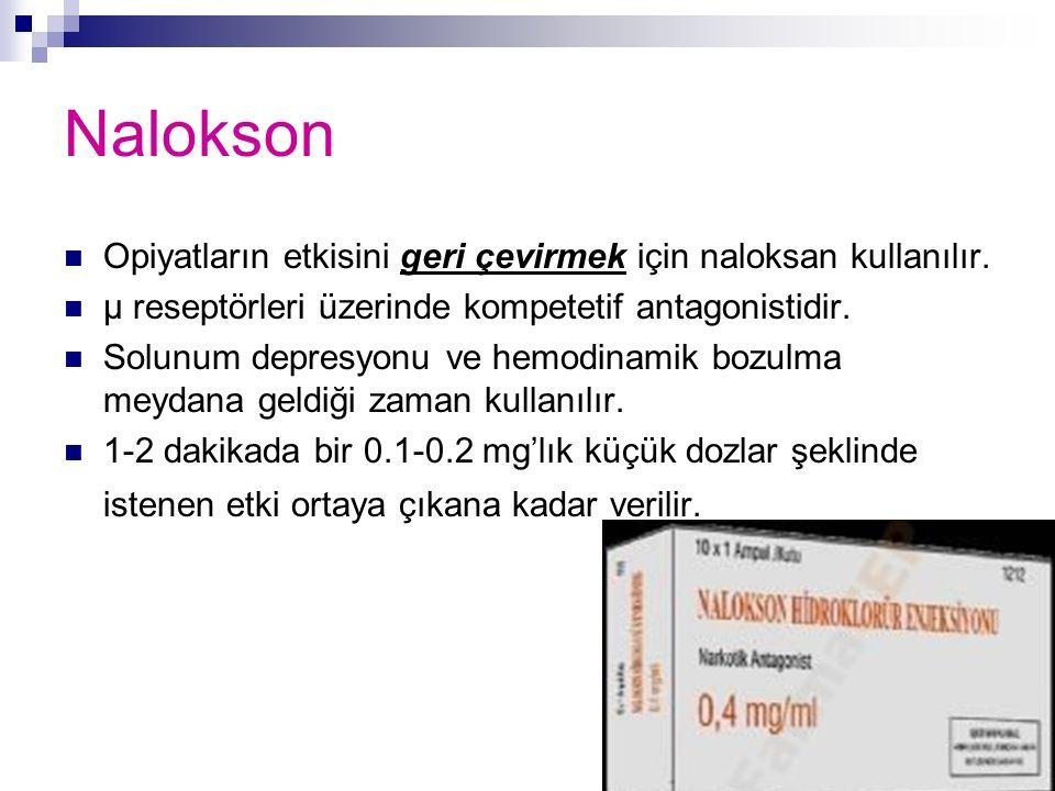 Nalokson Opiyatların etkisini geri çevirmek için naloksan kullanılır. μ reseptörleri üzerinde kompetetif antagonistidir. Solunum depresyonu ve hemodin